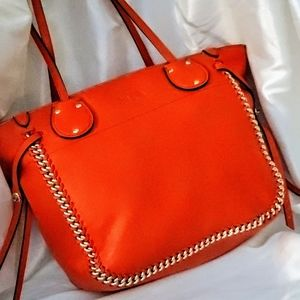 COACH CORAL WHIPSTITCH TOTE IN STEAMED DUST BAG